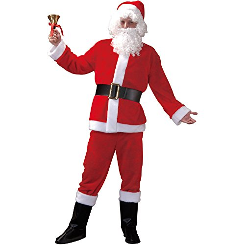 Santa Claus Adult Men's Christmas Suit, Winter Holiday Classic Costume, Red, Medium