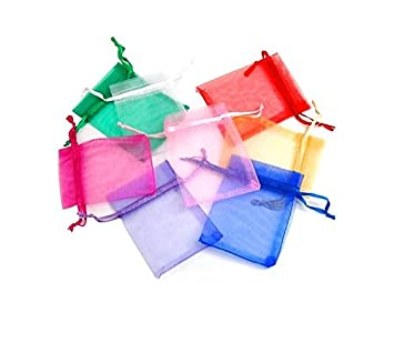 5 Organza Bags Gift Pouches Jewellery Packaging Wrapping Wrap Mesh Drawstring UK