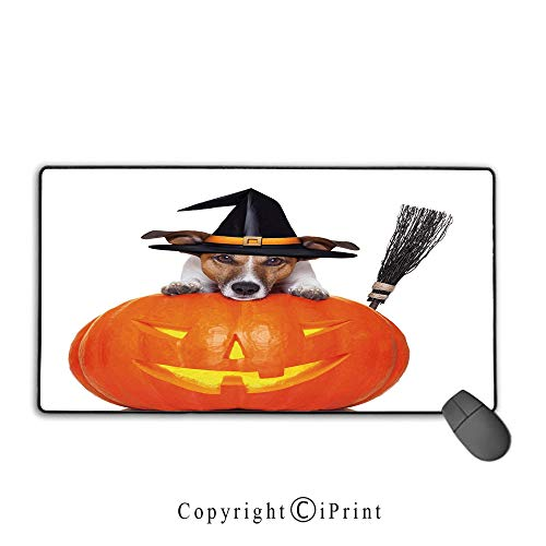 (Waterproof Coated Mouse pad,Halloween,Witch Dog with a Broomstick on Large Pumpkin Fun Humorous Hilarious Animal Print,Multicolor,Suitable for laptops, Computers, PCs, Keyboards, Mouse pad with)