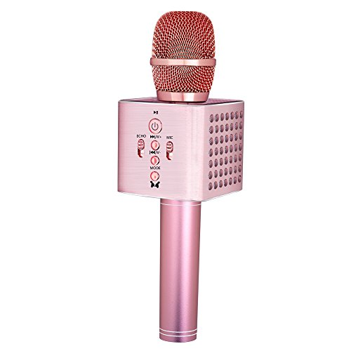 BONAOK Upgraded Wireless Bluetooth Karaoke Microphone Easter Gift,2600mAh 3 in 1 portable All-Aluminum Alloy karaoke Mic Machine for Android iPhone Apple PC or Smartphone(Rose Gold)