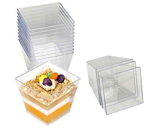 Baimeixun 40pcs 4OZ Embellish Crystal Clear Hard Plastic Dessert Cups