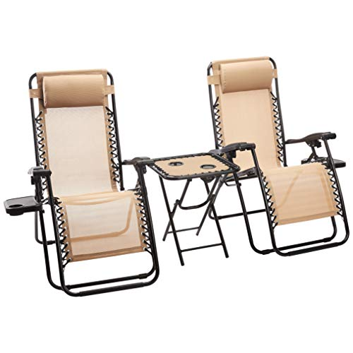 AmazonBasics Zero Gravity Chair with Side Table, Set of 2, Tan