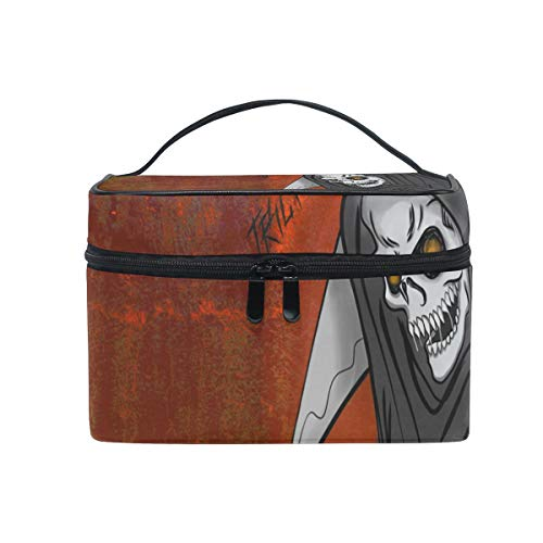 OREZI Happy Halloween The Death Cosmetic Bag Large Multifunction Makeup Travel Toiletry Travel Kit Organizer Case with Quality Zipper Portable for Makeup Bag for Women ()