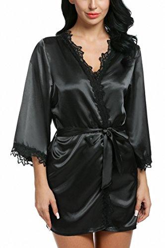 Short Lace Robe - etuoji Women Loose 3/4 Sleeve Lace-Trimmed Kimono Style Short Satin Robe