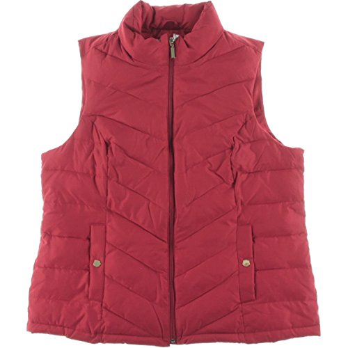 Charter Club Womens Plus Quilted Solid Outerwear Vest Red 3X