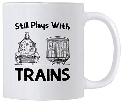 (Casitika Train Memorabilia Gifts. Still Plays With Trains 11 oz Ceramic Coffee Mug. Gift idea for Model Train/Railroad Enthusiasts.)