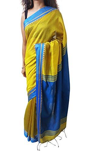 (Mehrunnisa Handloom BAHA Sarees with Blouse Piece from Kolkata (Yellow & Dark Blue) )