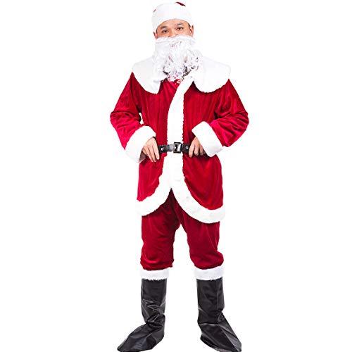 Santa Pub Crawl Costumes (Christmas Santa Claus Costumes Plush Men's Pub Flannel Crawl Santa Suit Xmas Suit (Upgrade Dark)