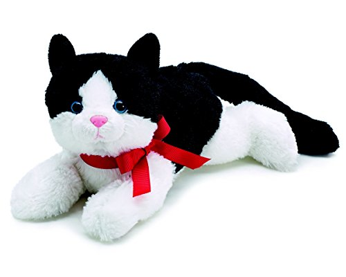 Black and White Plush Kitty Cat with Red Bow for Valentine's Day (Plush White Cat)