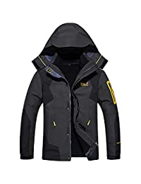 Alomoc 3 in 1 Winter Jacket Outdoor Waterproof Softshell Raincoat Snowboard Clothing