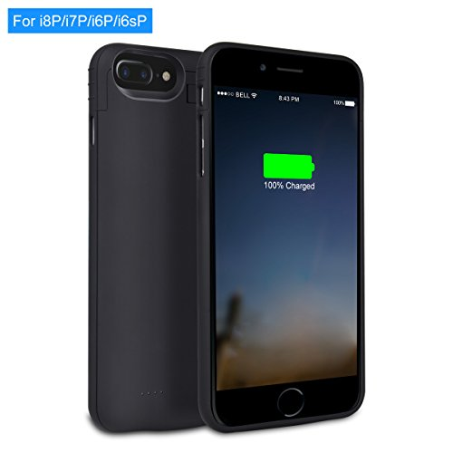 iPhone 8/7/6 Plus Battery Case - XREXS 4000mAh Rechargeable Extended Cell Phone Battery Charger Case,Backup Power bank with Kickstand,Portable Charging Case Cover for iPhone 8P/7P/6sP/6P