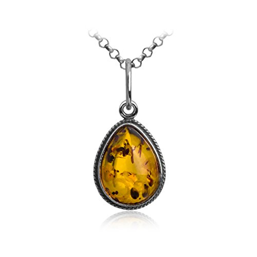 Sterling Silver Amber Drop Charm Pendant Necklace 18 (Amber Charms)