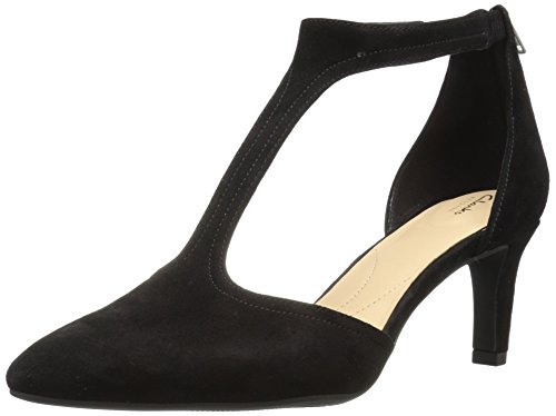 Womens T-strap Pumps - CLARKS Women's Calla Lily Pump, Black Suede, 7.5 Medium US