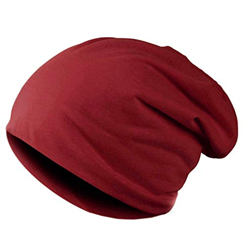 Men Unisex Knitted Winter Cap Casual Beanies Solid Color Hip-hop Snap Slouch Skullies Bonnet Beanie Hat Gorro Wine Red
