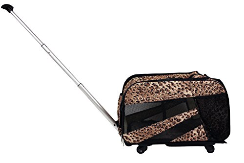 Pet Smart Cart, Small, Cheetah, Rolling Carrier with wheels soft sided collapsible Folding Travel Bag, Dog Cat Airline Approved Tote Luggage backpack (Travel Cheetah Luggage)