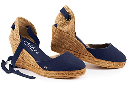 "VISCATA Handmade in Spain Sagaro 2.5"" Wedge, Soft Ankle-Tie, Closed Toe, Classic Espadrilles Heel"