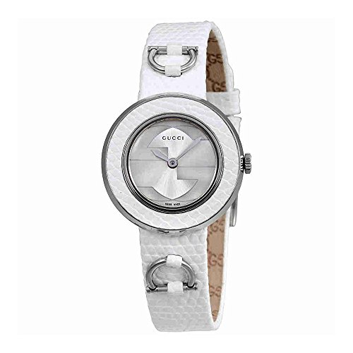 Gucci U-Play Silver Dial Leather Ladies Watch YA129515