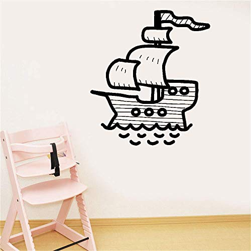 Lettering Words Wall Mural DIY Removable Sticker Decoration Pirate Ship for Nursery Kids Room