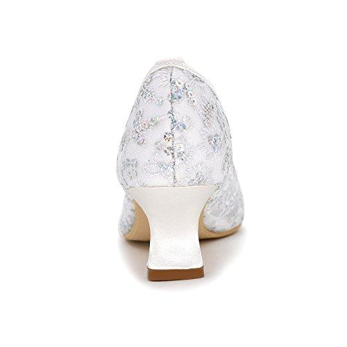 L@YC Zapatos De La Mujer De La Boda Zapatos Personalizados De Encaje altos apuntados Cómodos Multi-Color Yards Grande Gold