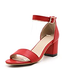 Woman Open Toe Chunky High Heel Ankle Strap Sandals