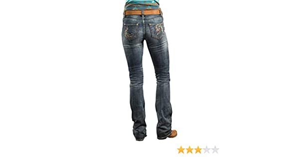 b4afce9286e Rock and Roll Cowgirl Womens Mid-Rise Bootcut Jeans in Dark Vintage W1-8714  at Amazon Women s Jeans store