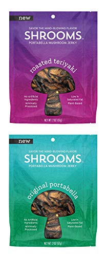 - Shrooms Vegan Mushroom Jerky | Superfood, Low Fat Snack Made with Fresh Mushrooms, No Artificial Ingredients | Variety Pack, Roasted Teriyaki + Original Portabella