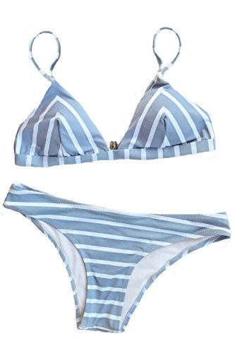Cupshe Fashion Women Stripe Printing Bikini Set (M)