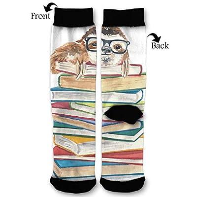 Unisex Fun Novelty Crazy Crew Socks Book Sloth In Glasses Dress Socks - Sloth Socks