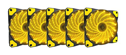 APEVIA AF512L-SYL 120mm Yellow LED Ultra Silent Case Fan w/ 15 LEDs & Anti-Vibration Rubber Pads (5-pk)