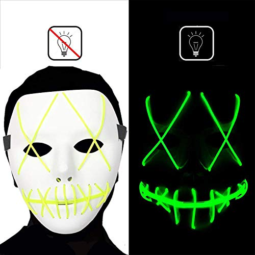 Dee Banna Halloween Scary Mask Led Cosplay Costume Mask EL Wire Light up Mask for Halloween Festival Parties ()