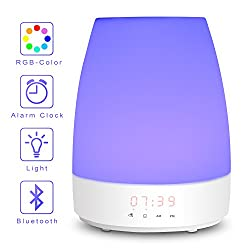 Wake Up Light-Sunrise Digital Alarm Clock, Bedroom Light Therapy-Snooze Function for Heavy Sleeper, Kids, 3 Night Light Brightness & 8 RGB Colors, 7 Nature Sounds & Bluetooth Speaker, Touch Control