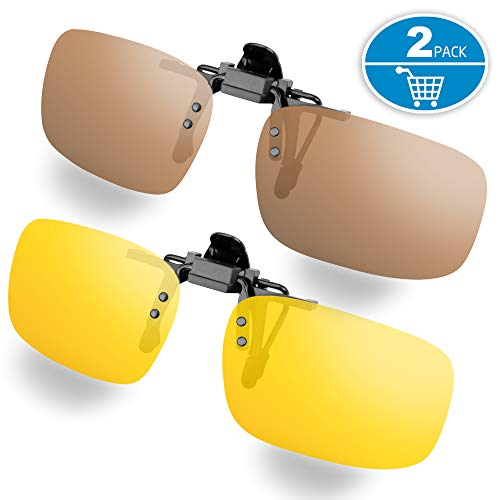 Clip-on Sunglasses, Splaks Unisex Polarized Frameless Rectangle Lens Flip Up Clip on Prescription Sunglasses Eyeglass, 2-Piece Clip on Glasses (1 Brown & 1 Yeallow)