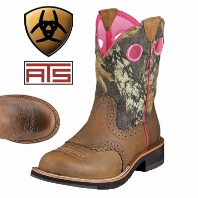 Ariat Women's Fat Camo Cowgirl Boot Distressed 7.5