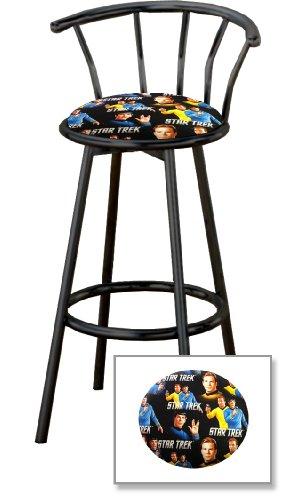 New 24″ Tall Counter Height Black Metal Finish Swivel Seat Bar Stools with Star Trek Theme Seat Cushions!