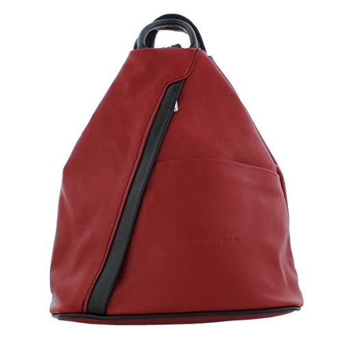 black Soft Rucksack Shoulder Backpack Red Handbag Leather f264 xnz6Hz0pqw