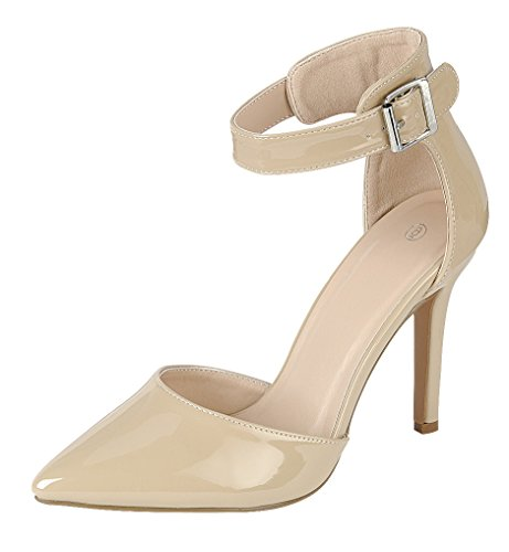Cambridge Pu Stiletto Heel Ankle Patent Pointed D'Orsay Buckled Taupe Select Pump Closed High Strap Toe Women's ArwAW1qxTS