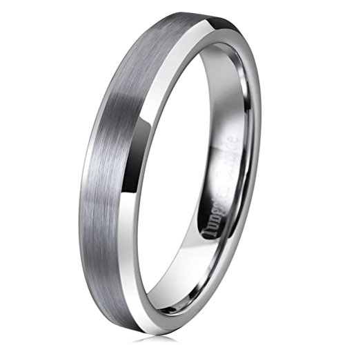 Three Keys Jewelry 4mm Women Tungsten Carbide Ring Matte Frostd Silver Polished Wedding Engagement Band Size (Polished Silver Key Ring)