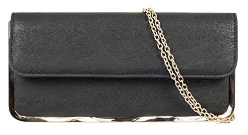 Simili Handbags Designer Cadeau Inspiré Femmes Belle Noir Cadre Cuir Girly Plié Pochette qtfgYddx