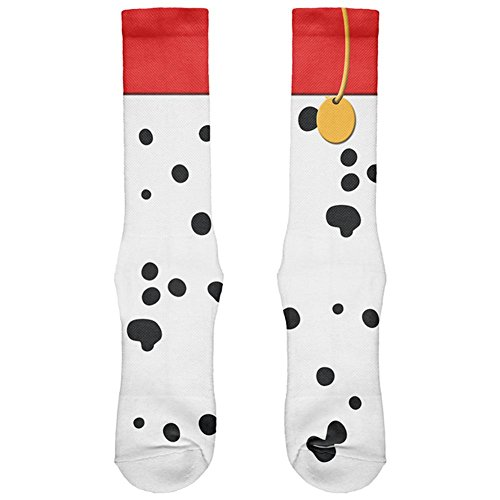 Halloween Dog Dalmatian Red Collar Costume All Over Soft Socks White Standard One Size
