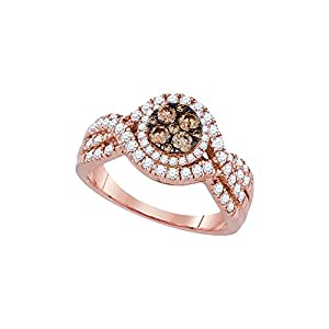 Size - 7 - Solid 14k Rose Gold Round Chocolate Brown And White Diamond Engagement Ring OR Fashion Band Prong Set Flower Shaped Halo Ring (.99 cttw)