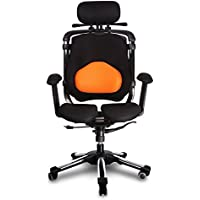 HARA CHAIR ZENON LB (ZN2LB T) Office Chair Twin Based Pressure Relief of the Intervertebral Discs and Improved Buttock Circulation Color: Orange/Black Mesh