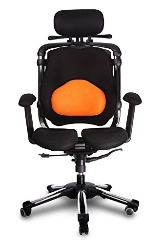 HARA CHAIR ZENON LB (ZN2LB T) Office Chair Twin Based Pressure Relief of the Intervertebral Discs and Improved Buttock Circulation Color: Orange/Black Mesh For Sale