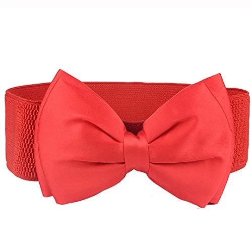 Elastic Strech Waist Strap Belt Cummer Bunds For Women's Dress Belts Red 63cm ()