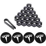 ROCCS Tesla Model 3, S & X Set Aero Wheel Cap Kit, Center Hub Nut Cap Lug Nut Cover, White