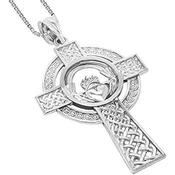 Amazon honolulu jewelry company sterling silver claddagh celtic honolulu jewelry company sterling silver claddagh celtic cross pendant with 18 box chain aloadofball Image collections