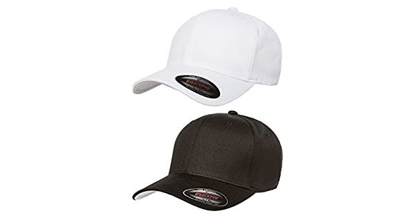 69dfe480f78 Premium Original Flexfit V-Flexfit Cotton Twill Fitted Hat 5001 2-Pack  (S-M