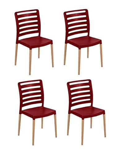 Table Set Bordeaux - Tensai Diva Chair - Durable Plastic with Wood Legs - Bordeaux - Set of 4