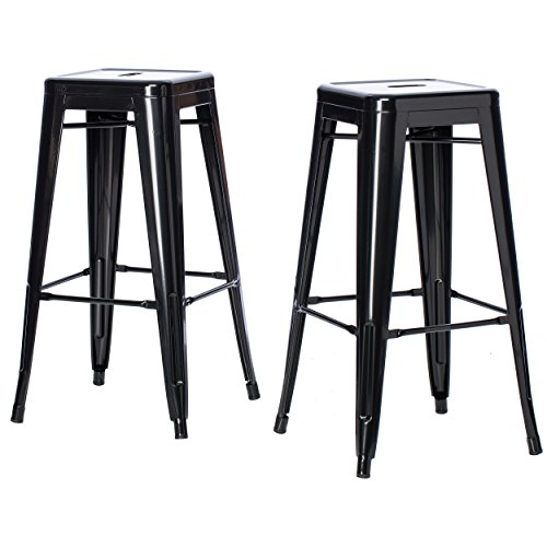 ModHaus Living Set of 2 Black French Bistro Tolix Style Metal Bar Stools in Glossy Powder Coated Finish Stackable Includes (TM) Pen