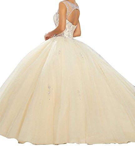 33542adcff Junguan Womens Scoop Beaded Bodice Floor Length Ball Gowns ...