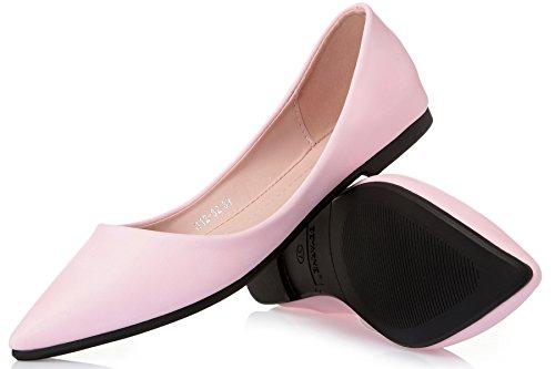 Donne Classiche Casual Caramelle Colore Punta A Punta Sweety Ballerine Comfort Morbido Slip On Scarpe S-5